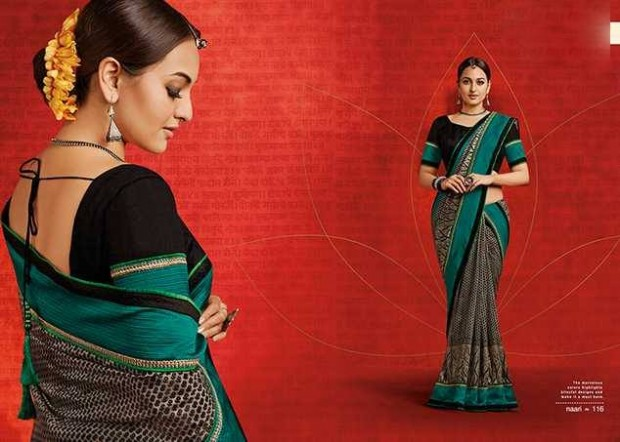 Bollywood-Indian Movies Actress-Model Sonakshi Sinha Wear Beautiful Colorful New Fashion Sarees-Sari-6