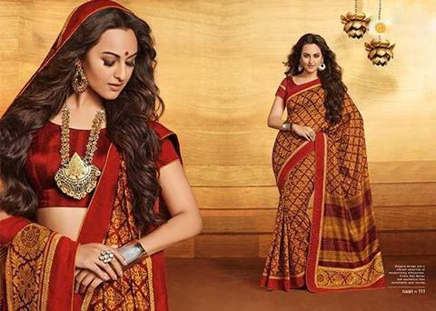 Bollywood-Indian Movies Actress-Model Sonakshi Sinha Wear Beautiful Colorful New Fashion Sarees-Sari-9