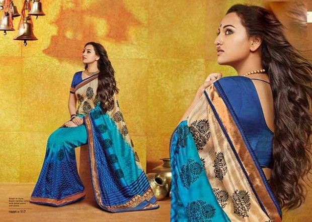 Bollywood-Indian Movies Actress-Model Sonakshi Sinha Wear Beautiful Colorful New Fashion Sarees-Sari-