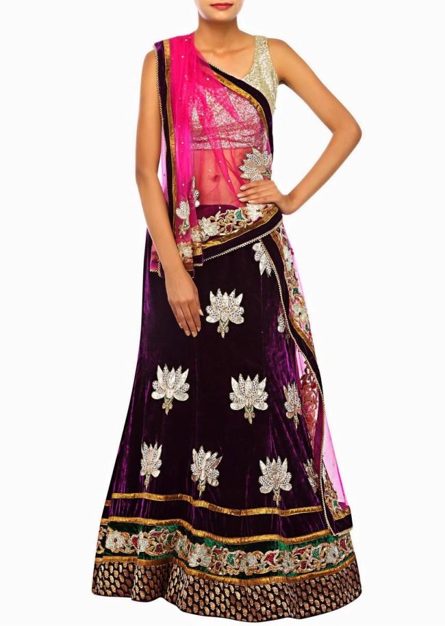Unique And Stylish Indian Wedding-Bridal Lehanga-Choli-Sharara Dress by Kalkifashion-12
