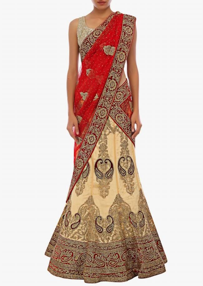 Unique And Stylish Indian Wedding-Bridal Lehanga-Choli-Sharara Dress by Kalkifashion-5
