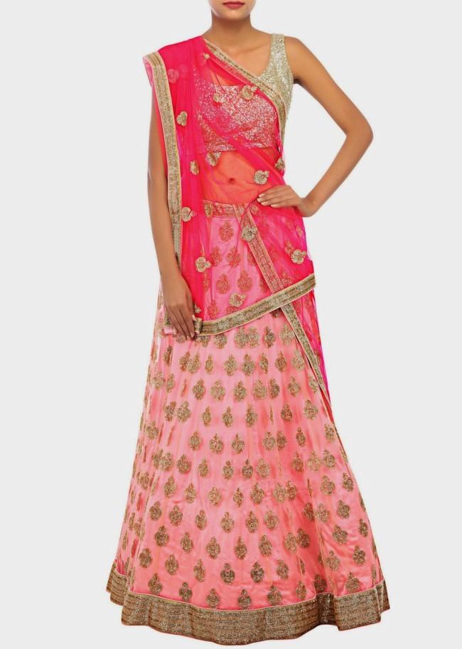 Unique And Stylish Indian Wedding-Bridal Lehanga-Choli-Sharara Dress by Kalkifashion-6
