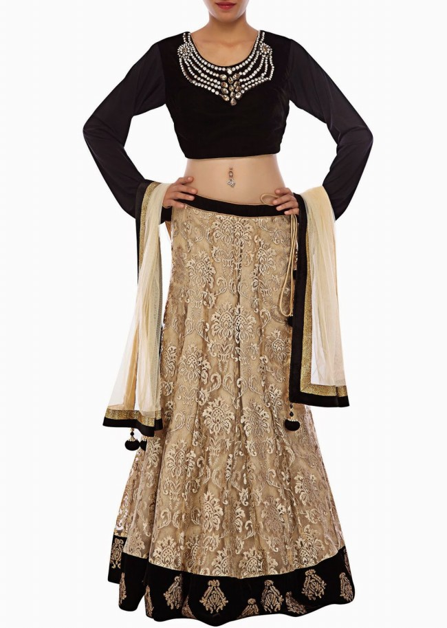 Unique And Stylish Indian Wedding-Bridal Lehanga-Choli-Sharara Dress by Kalkifashion-7