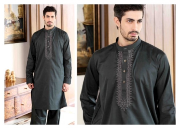 AA Ali Fabric Men's Wear Cotton Shalwar Kameez Dress Design New Fashion Suits-2