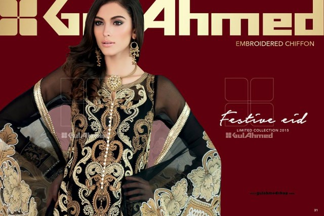 Gul Ahmed Latest Chantilly de Chiffon Eid Festive Dress for Women-Girls-