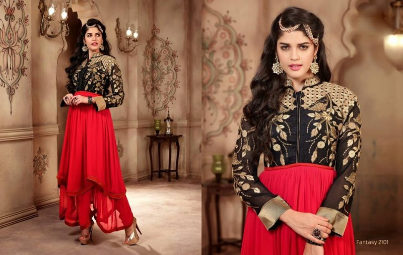 Saheli Couture Indo Western Style Anarkali Maxi Gown Frock Suits Design New Fashion-