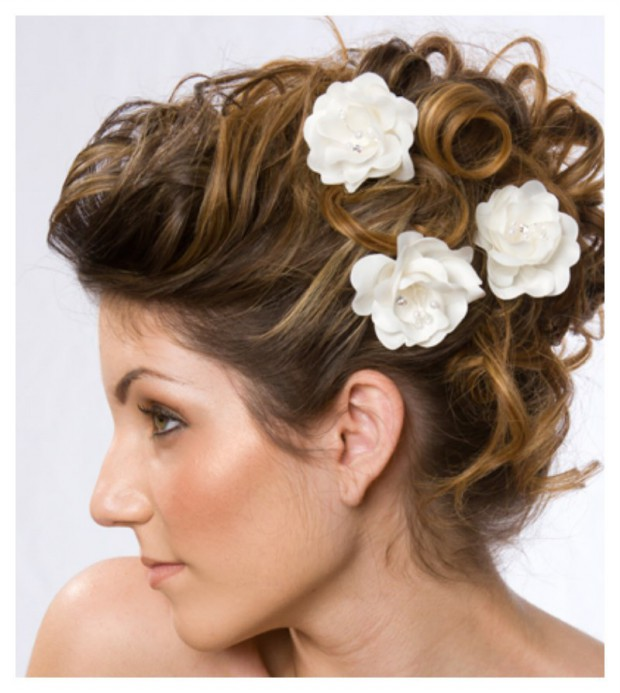 Lovely Artificial Silk Flower Hairstyles New Fashion for Western Girls-Women-