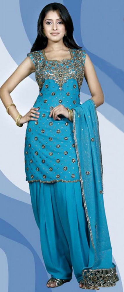 Indian Patiala Salwar Kameez Designs Picture Gallery Night-Evening Party Wear Dress-10