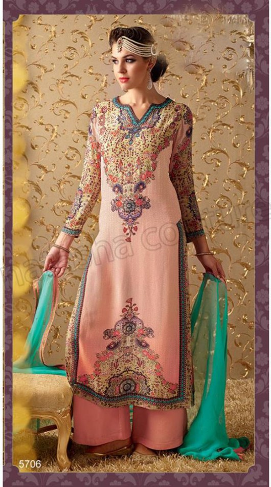 Latest Beautiful Printed Embroidered Outfits Girls Suits by Natasha Couture-3