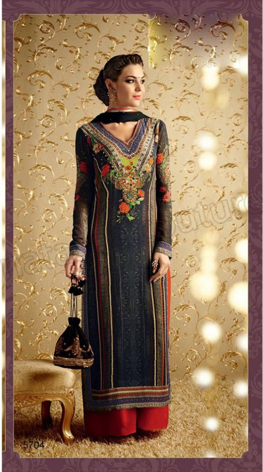 Latest Beautiful Printed Embroidered Outfits Girls Suits by Natasha Couture-6