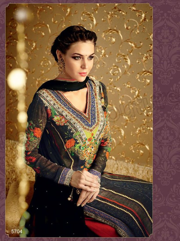 Latest Beautiful Printed Embroidered Outfits Girls Suits by Natasha Couture-