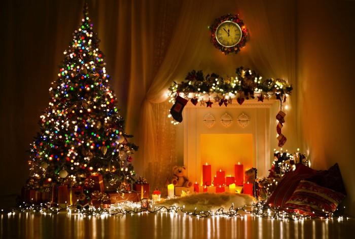 Merry Christmas-X-Mass Beautiful Tree Lights Decoration Eve-Idea ...