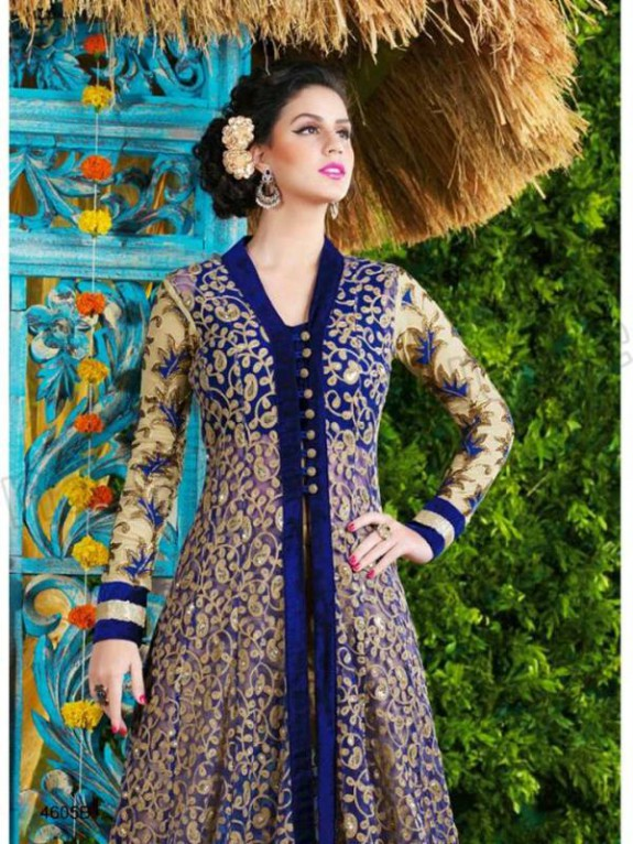 Latest Net Party Wear Gown Dress New Fashionable Suits for Girls-Women-6