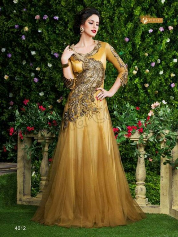Latest Net Party Wear Gown Dress New Fashionable Suits for Girls-Women-8