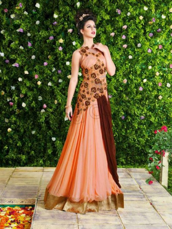 Latest Net Party Wear Gown Dress New Fashionable Suits for Girls-Women-9