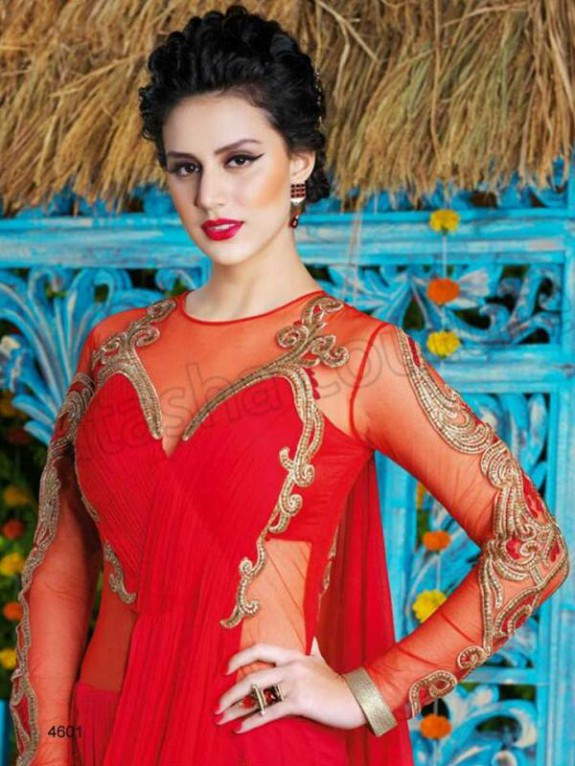Latest Net Party Wear Gown Dress New Fashionable Suits for Girls-Women-