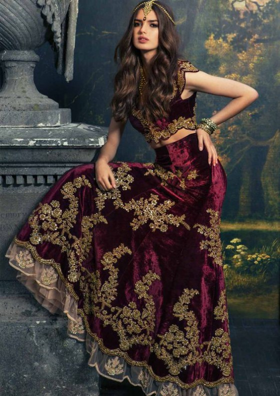 Bridal-Wedding Wear Velvet Fancy Suits Latest Fashionable Dresses Trend for Brides-Dulhan-2