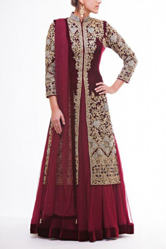 Bridal-Wedding Wear Velvet Fancy Suits Latest Fashionable Dresses Trend for Brides-Dulhan-6
