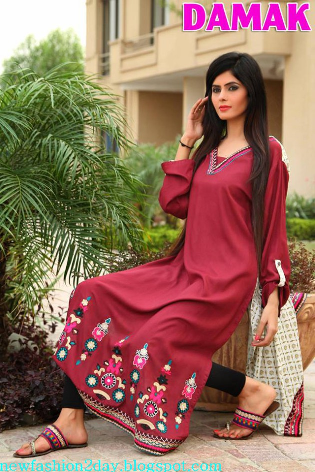 Damak Latest Winter-Fall Stylish Embroidered Wear Dress for Teenage Girls-Women-